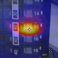 Breaker image taken with a VT04 Visual IR Thermometer blended at 50% heatmap and 50% visual